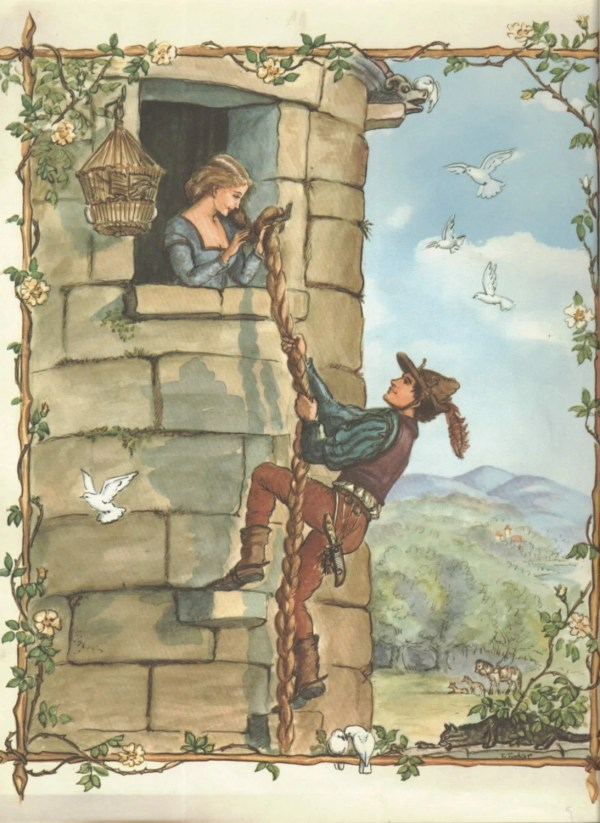 Vintage Art Tasha Tudor Illustration Rapunzel