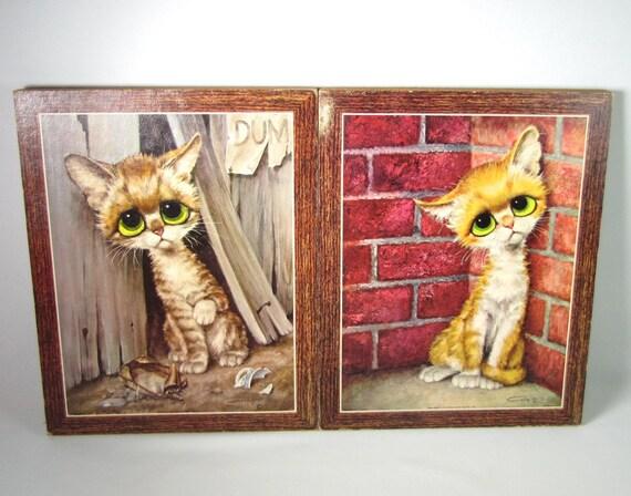 Pity Kitty 2 Vintage Big Eye Sad Alley Cats by Gig Tiger