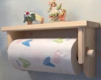 Unfinished Paper Towel Holder with Shelf