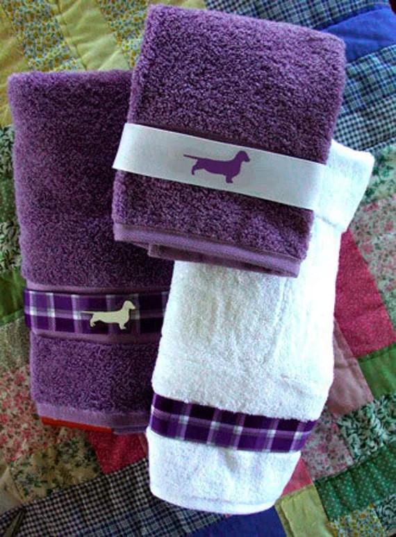 Items similar to Dachshund Doxie Dog Bath Towel  Purple