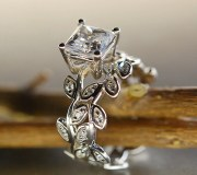princess cut moissanite leaf ring