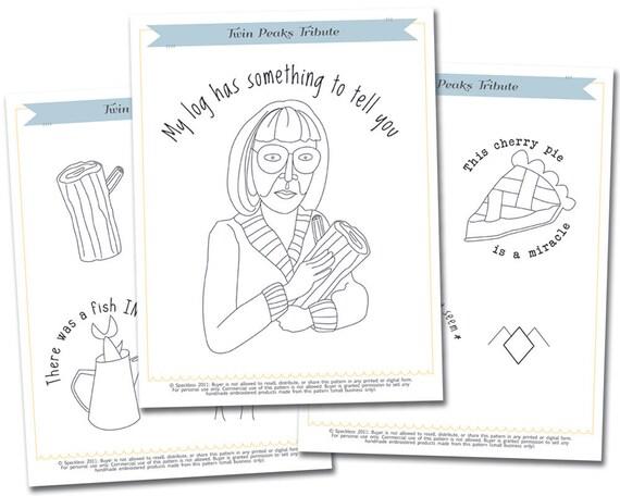 Twin Peaks Tribute Embroidery Pattern Set