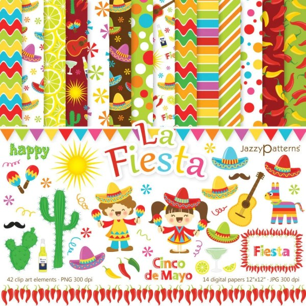 fiesta clip art and digital paper