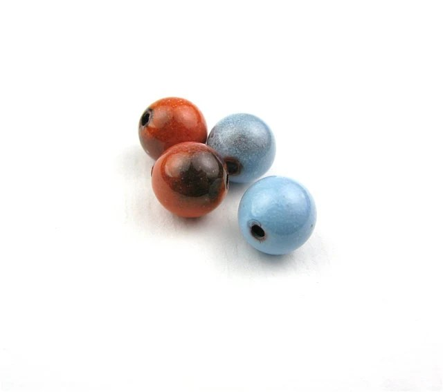 Vintage enameled rounds / Blue and orange enamel 7