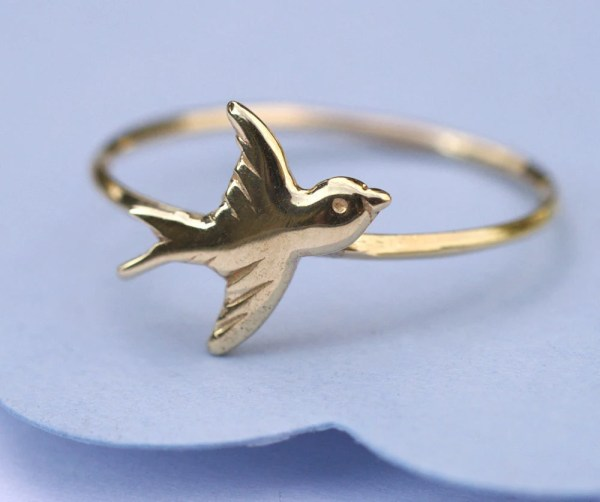 14K Gold Bird Ring