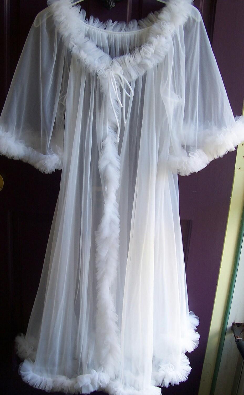 White lingerie robe Vintage SeeThru FouFou transparent