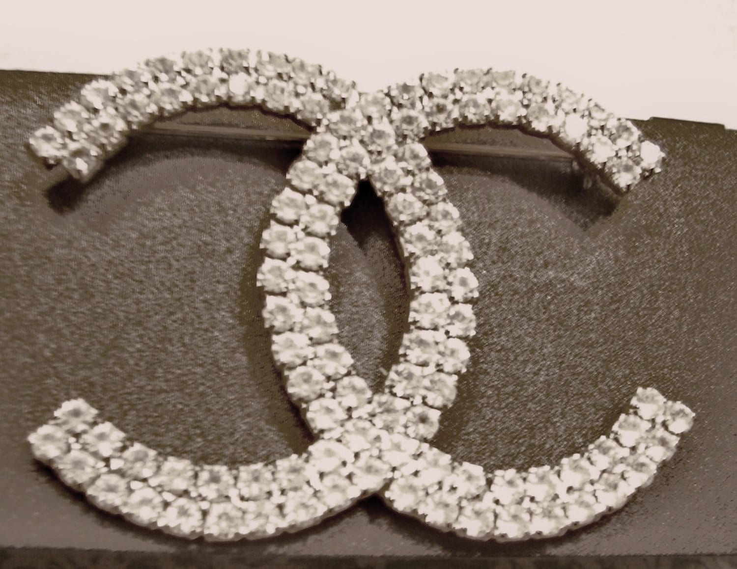 Vintage Chanel Brooch Pin Signed Bauer Rhinestones Cc By