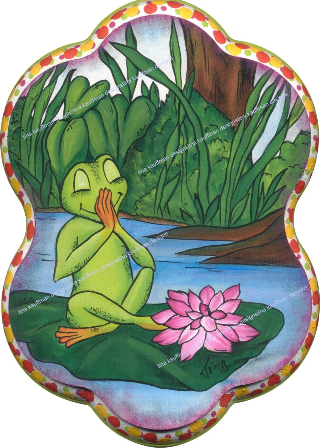 Praying Frog On Lily Pad