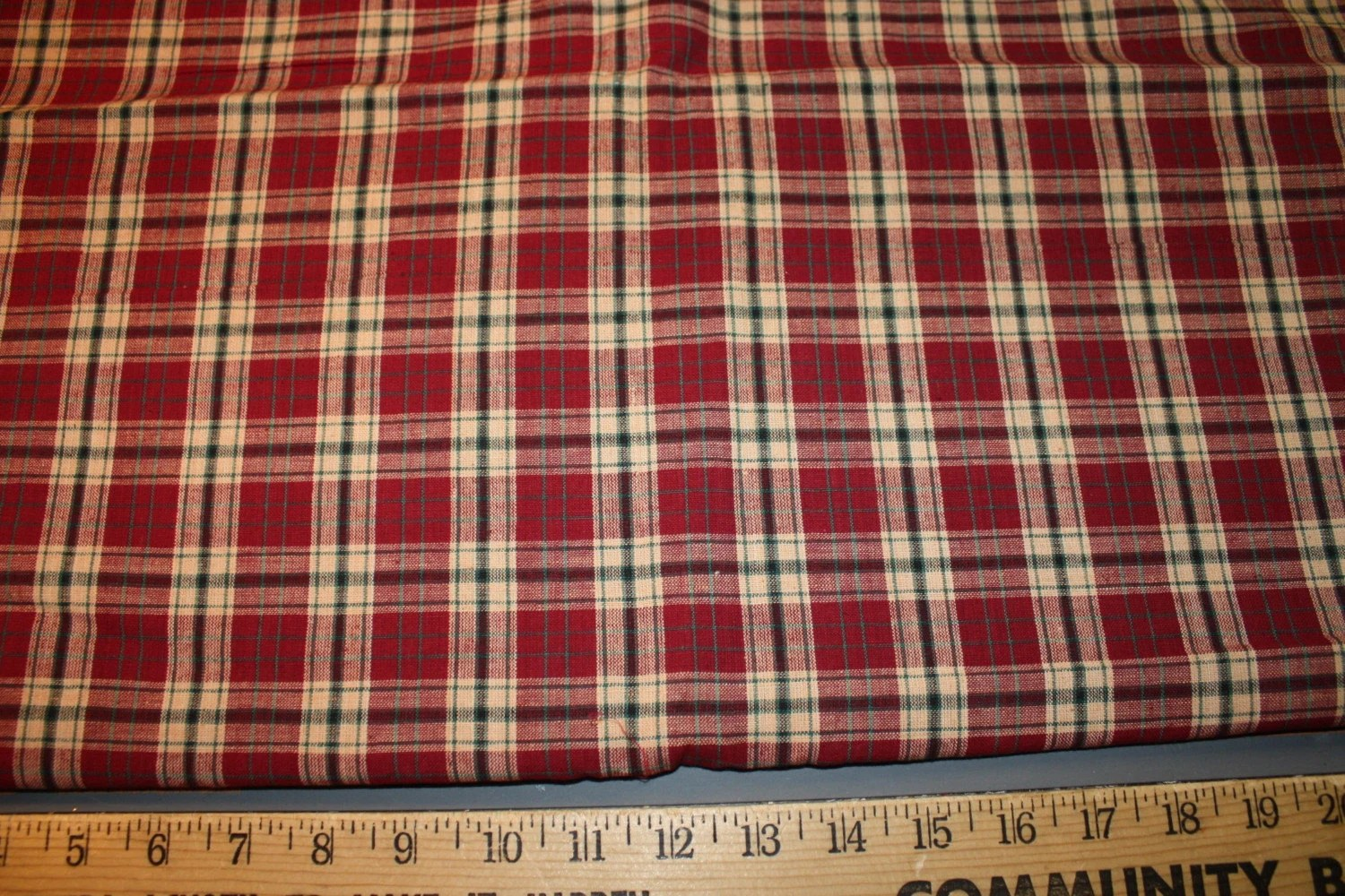 Cotton Homespun Fabric Green Burgundy Tan Black Plaid Fabric