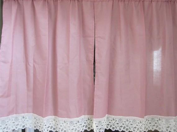 SALEVintage Lace Curtains Lace Cafe Curtains 2 Mauve Cafe