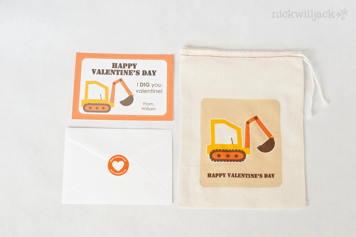 Construction Digger Valentine Card Kit By Nickwilljack On Etsy