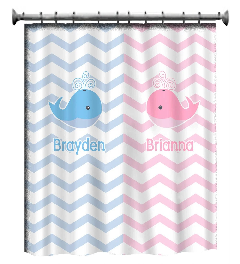 Personalized Shower Curtain Pink And Blue Shared Curtain