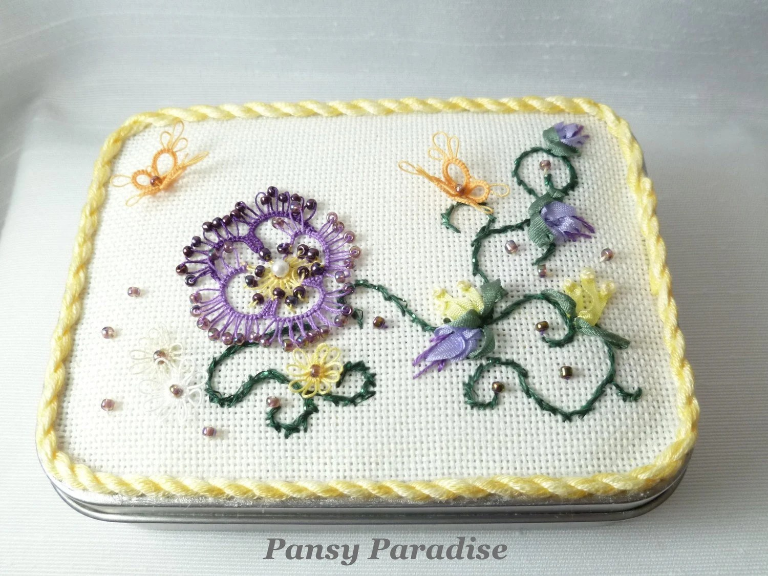 Fiber Art Keepsake Box Tatted Butterfly Garden -Pansy Paradise