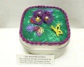 Tatted Fiber Art Garden the butterfly garden keepsake box -Summer Bloom