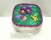 Tatted Fiber Art Garden the butterfly garden keepsake box -Summer Bloom