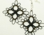 Tatted Earrings Black Lace with crystal and dark gold glass -Rush -MTO