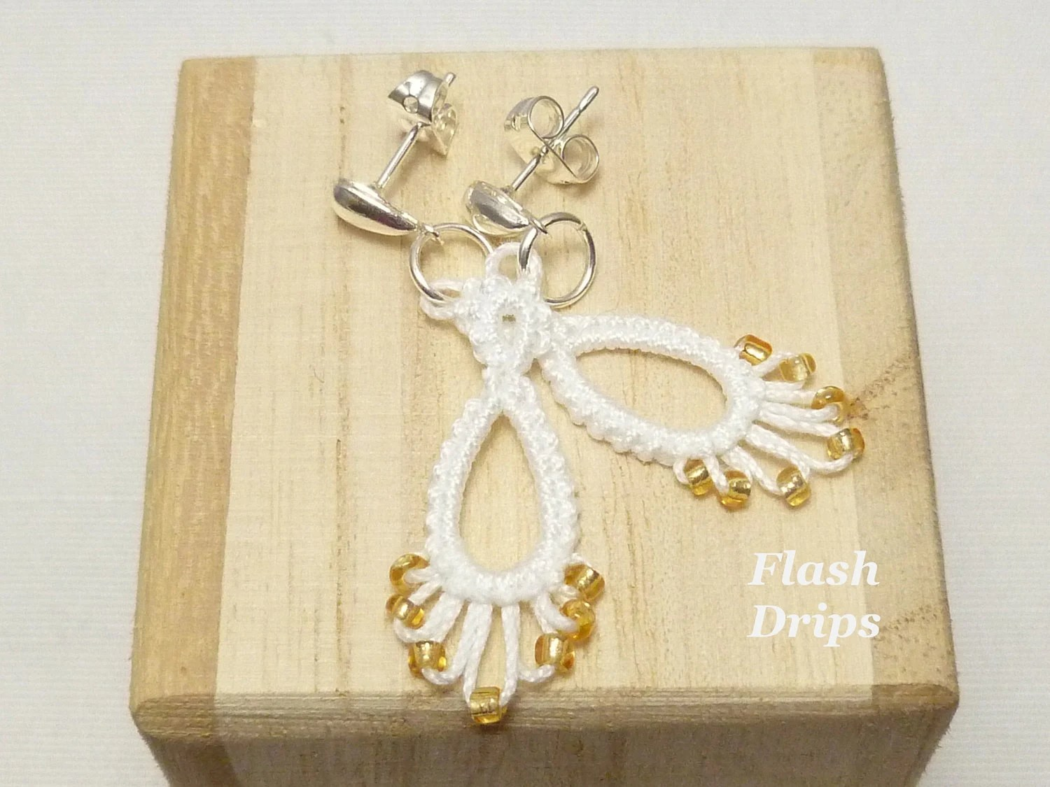 Tatted Lace Earrings in white with gold glass beads -Flash Drips
