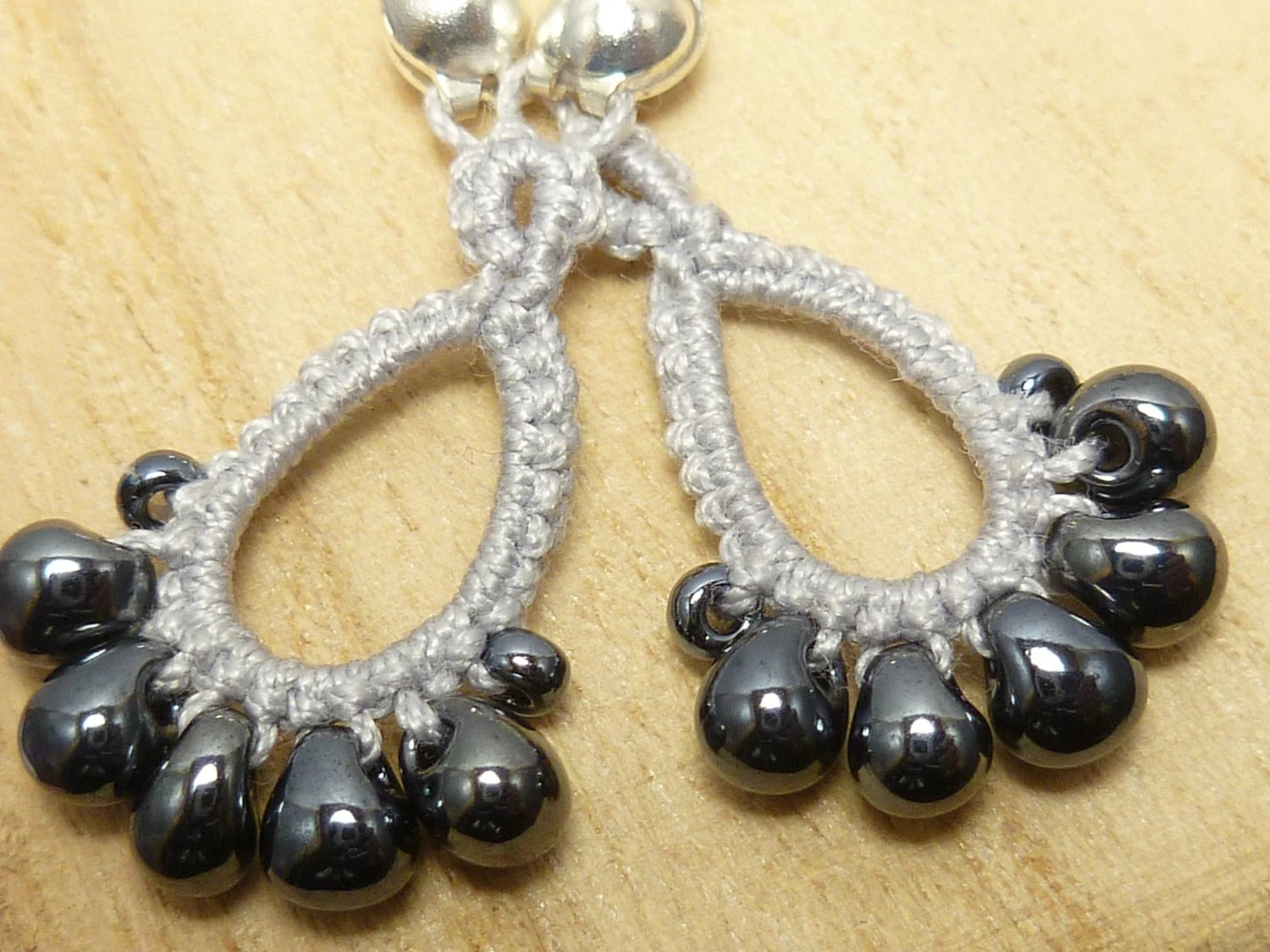 Tatted Lace earrings in Silver -Drips