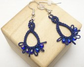 Tatted jewelry Lace Earrings in Navy with cobalt blue -Frilly Drips
