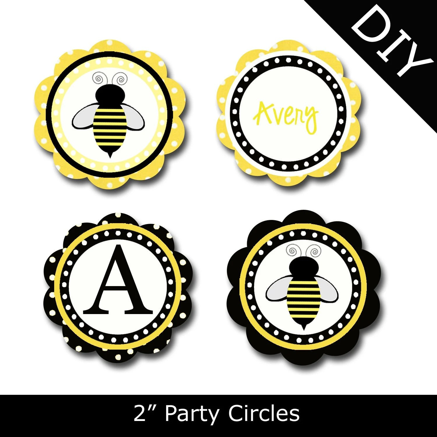 Items Similar To Bumble Bee Printable Party Circles By Oh My Gluestick On Etsy