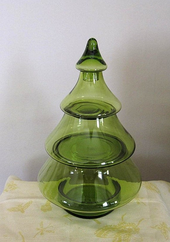Vintage Green Glass 3 Part Christmas Tree Stacking by