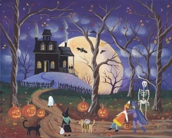 Dont Be Scared Halloween Folk Art Print