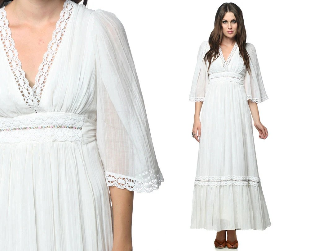 Hippie Maxi Dress 70s White Gauze Bohemian Wedding Lace Angel