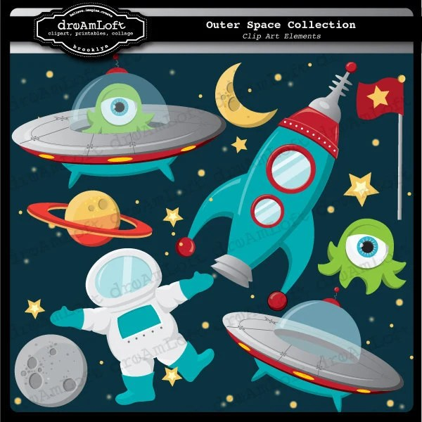 outer space clip art digital collage
