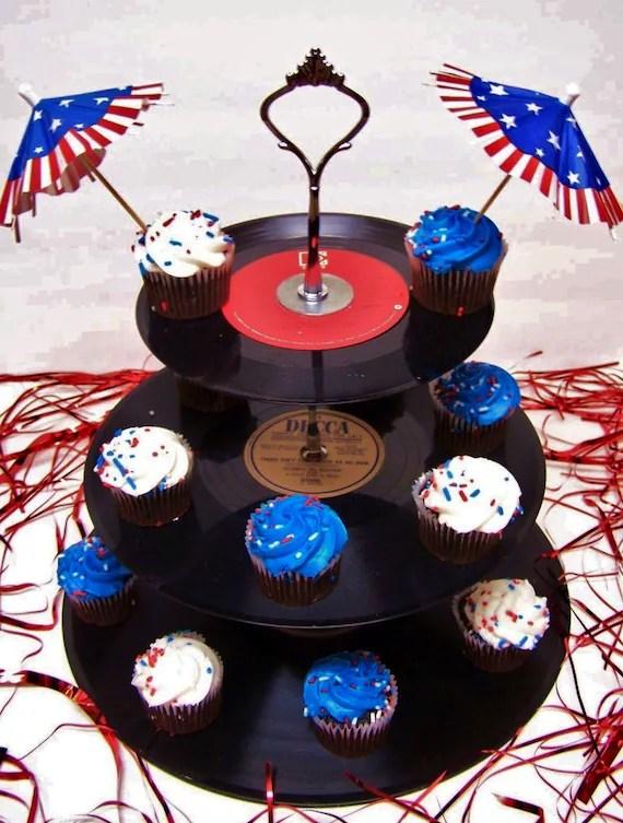 Retro Vintage 50s Record Dessert 3 Tier Pedestal Cake