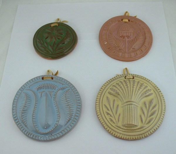 Art Pottery Set Of 4 Ceramic Antique Butter Mold Impression