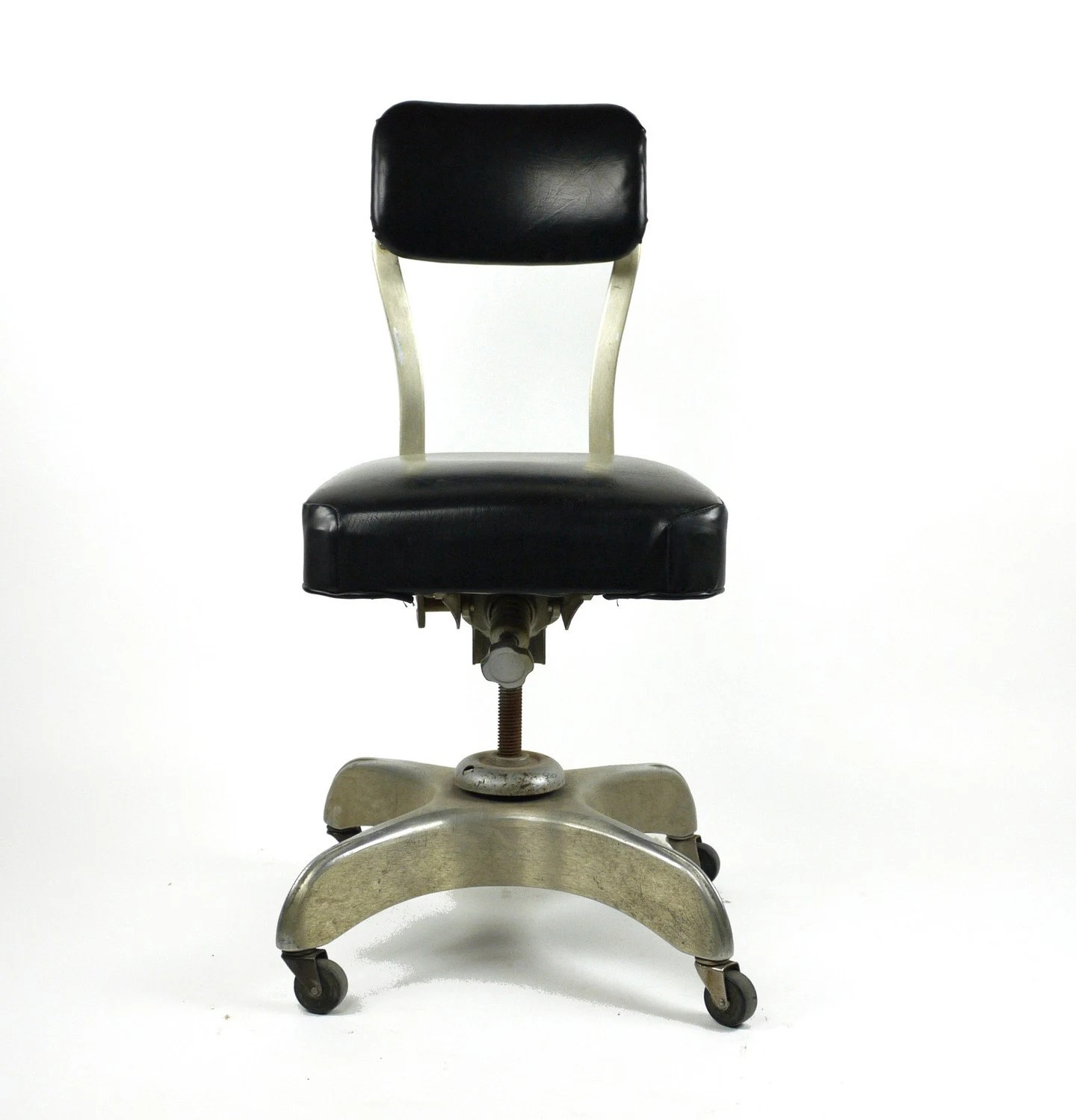 add headrest to office chair used salon chairs vintage 1950's emeco metal swivel tanker desk
