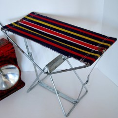 Vintage Beach Chairs Swing Chair Bamboo Folding Striped Metal Canvas Camping