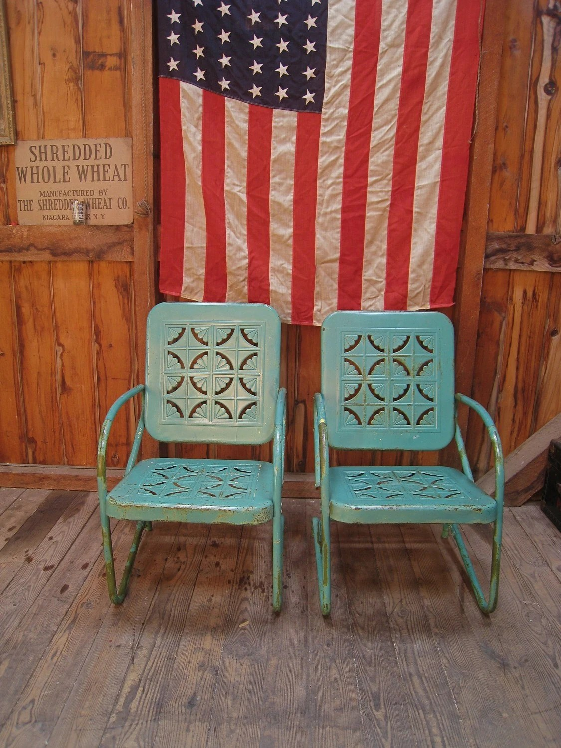 Vintage 1950s Turquoise Metal Lawn Porch Chairs
