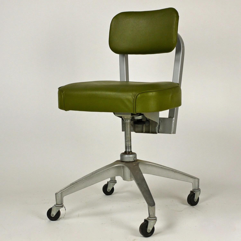Vintage 1950s Cole Steel Swivel Metal Office Desk Chair
