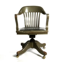 Antique Deco Wooden Chair Swivel Office Desk Chair