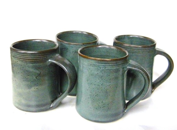 Set of 4 16 oz Handmade Ceramic Mugs Slate by