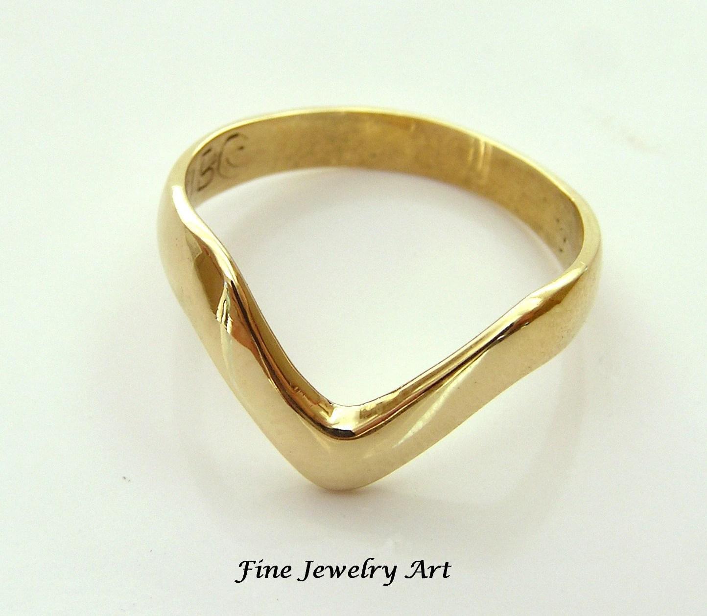 V Ring Chevron Ring Shaped Band Handmade In 14k Yellow