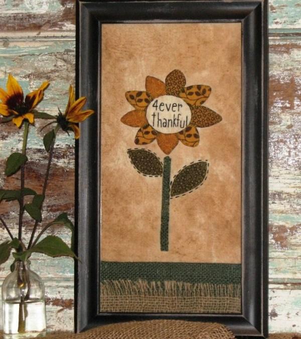 primitive sunflower stitchery