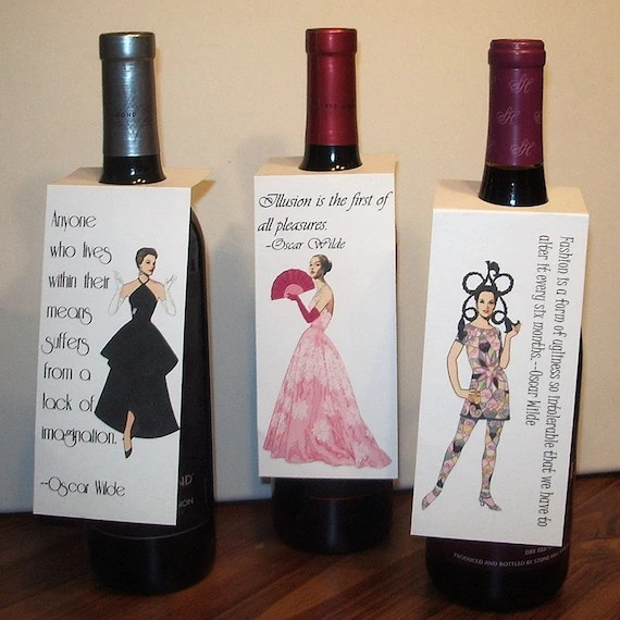 Items Similar To Wine Bottle Gift Tags With Oscar Wilde