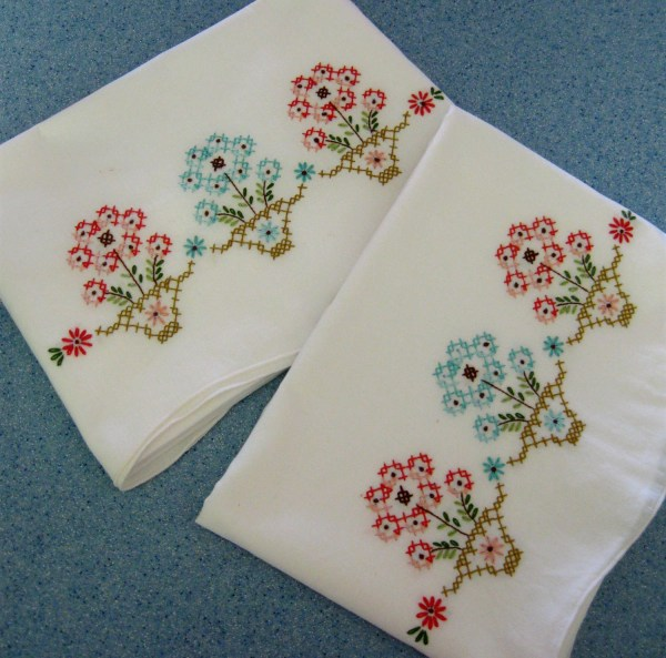 Vintage Pillowcases Embroidered Flowers In Pots Aqua Coral