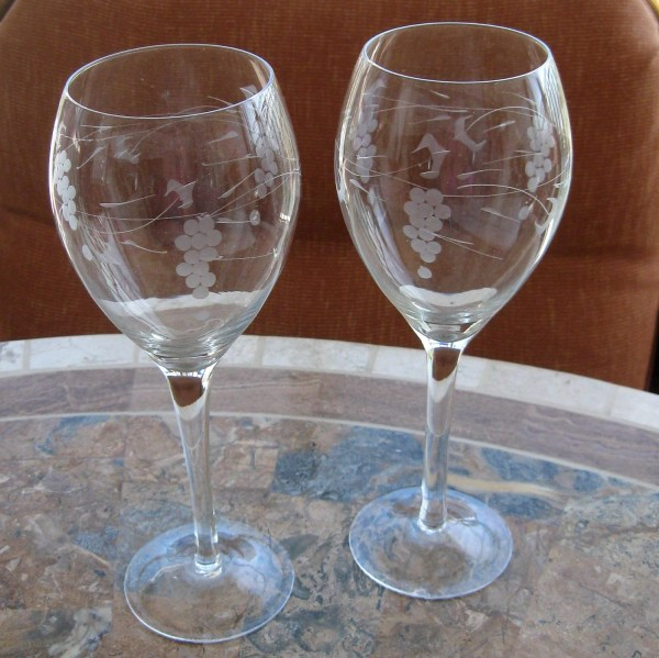 Vintage Wine Glass Glasses Etched Crystal Grape Leaf Stems Two