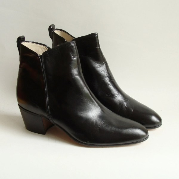 Black Leather Italian Boots Ankle