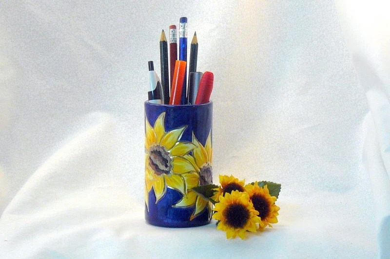 Ceramic Pencil Holder - Sunflower Pencil Holder - GrapeVineCeramicsGft