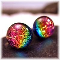 Sparkling Dichroic Glass Rainbow Stud Earrings Boho Chic