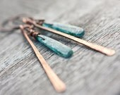 Long Boho Earrings Blue Kyanite Copper Rustic Tribal Woodland fashion rusteam - daimblond