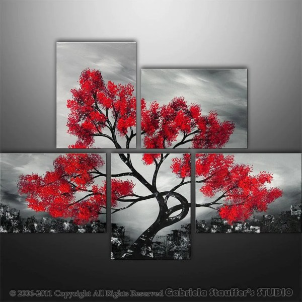 Red Black White Asian Tree Painting