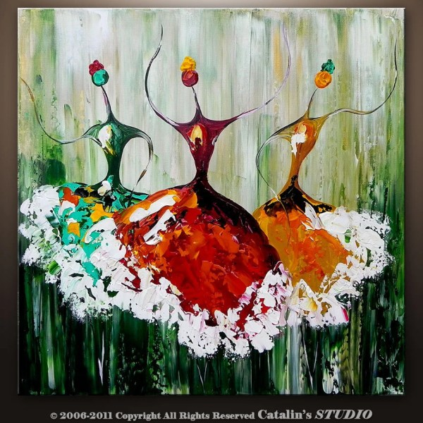 Abstract Ballet Ballerina Painting Textured Modern Catalin