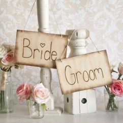 Wedding Bride And Groom Chairs Kids Bungee Chair Signs Rustic Barn Outdoor Garden