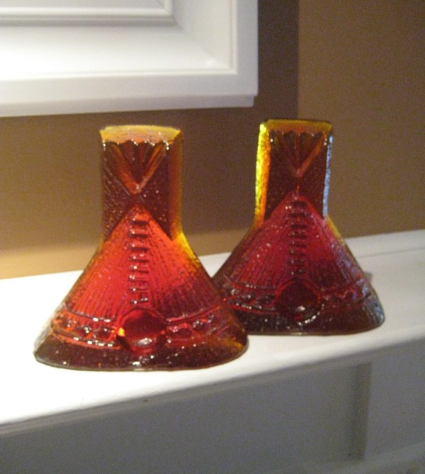 70s Blenko Amberina Teepee Bookends Solid Glass