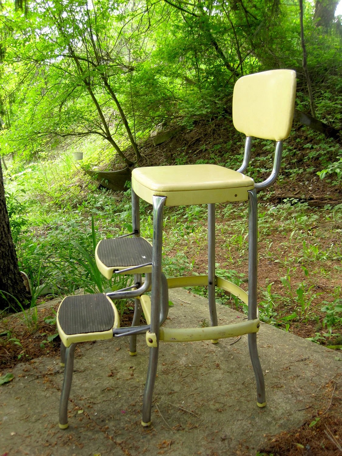 retro chair step stool steel for study vintage 1950s stylaire fold out yellow and